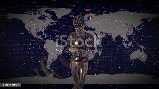919567592 istock photo Man Futuristic graphical interface and system engineer, financial technology holding smart phoneusing modern interface network 1183518802