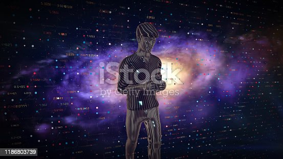 919567592 istock photo Man Futuristic graphical interface and system engineer, financial technology holding smart phoneusing modern interface network 1186803739