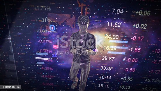919567592 istock photo Man Futuristic graphical interface and system engineer, financial technology holding smart phoneusing modern interface network 1188510169