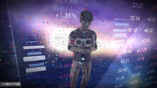 919567592 istock photo Man Futuristic graphical interface and system engineer, financial technology holding smart phoneusing modern interface network 1194177193