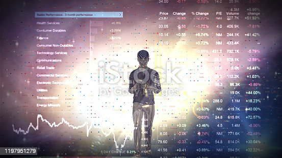 919567592 istock photo Man Futuristic graphical interface and system engineer, financial technology holding smart phoneusing modern interface network 1197951279