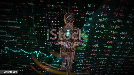 919567592 istock photo Man Futuristic graphical interface and system engineer, financial technology holding smart phoneusing modern interface network 1204066294