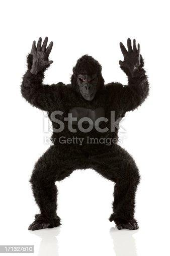 istock Man gesturing in gorilla costume 171327510