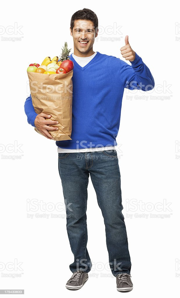 Man Gesturing Thumbs Up While Carrying Bag Of Groceries-Isolated royalty-free stock photo