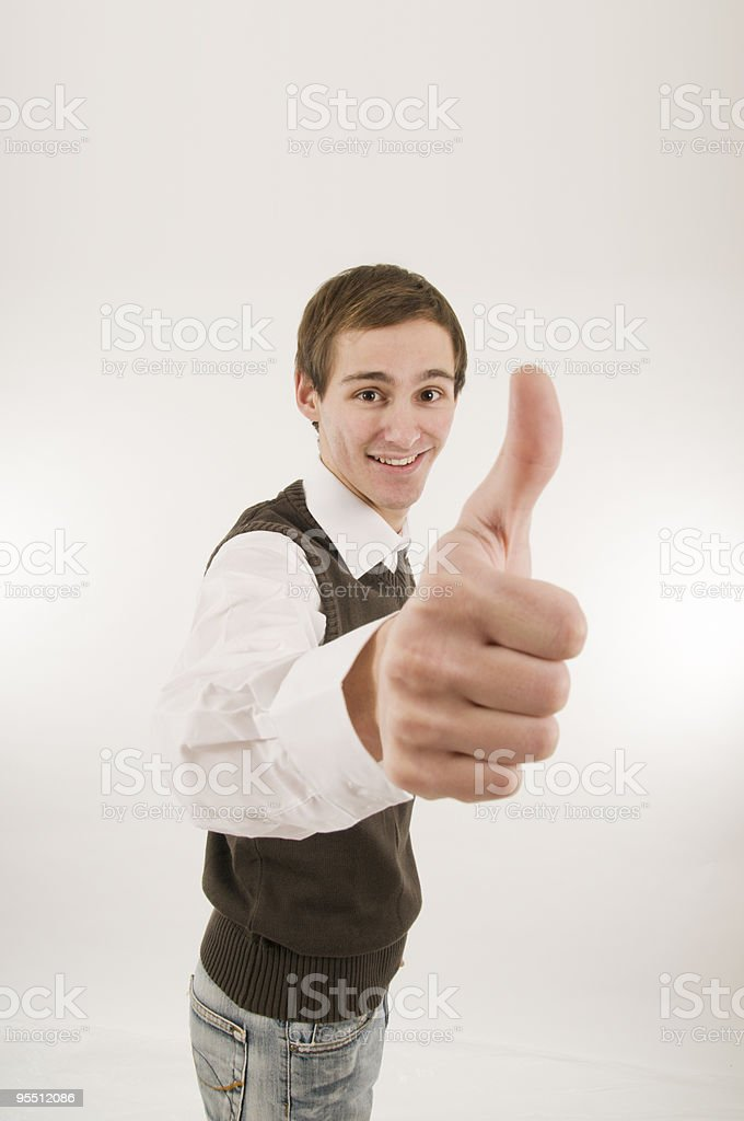 man gesturing thumbs up wide royalty-free stock photo