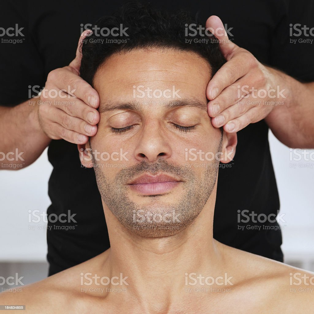 Man Getting a Head Massage royalty-free stock photo