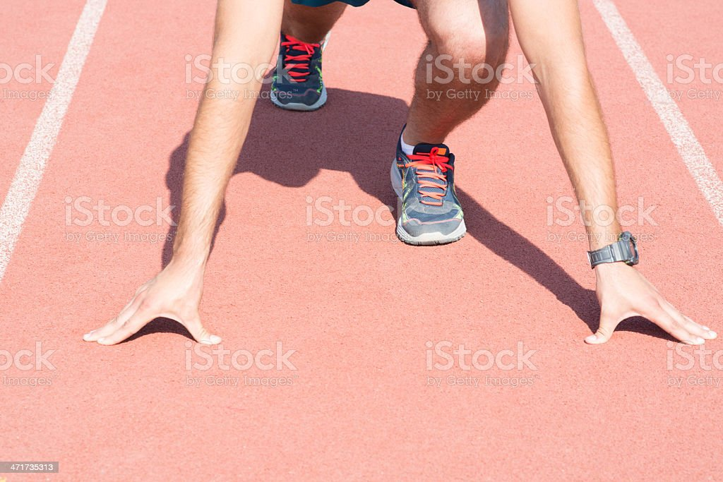 Man getting ready to run. royalty-free stock photo
