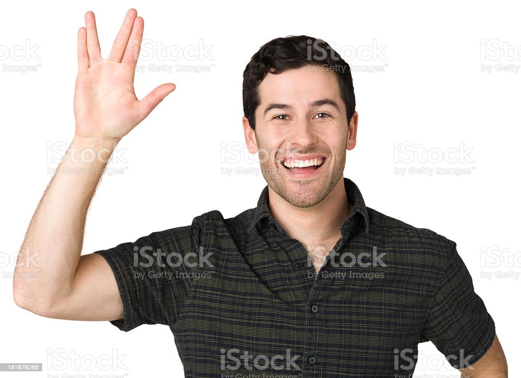 Man Gives Vulcan Salute Hand Gesture royalty-free stock photo
