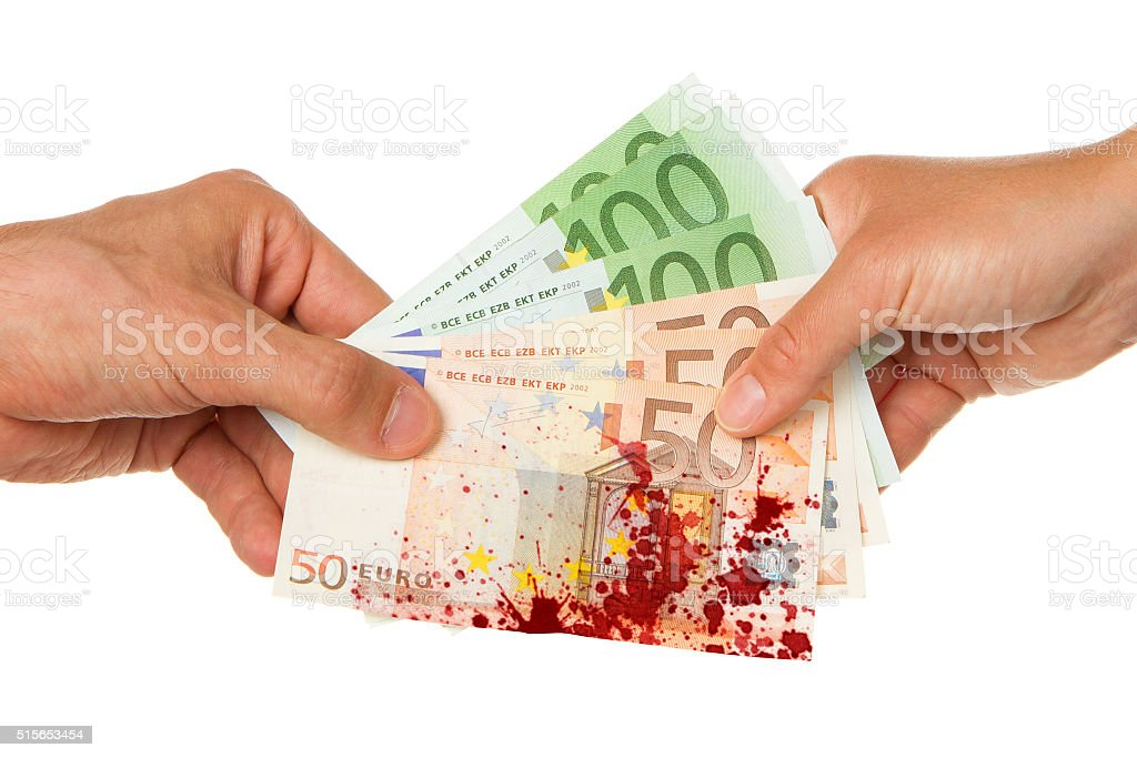 Man giving 450 euro to a woman, bloody stock photo