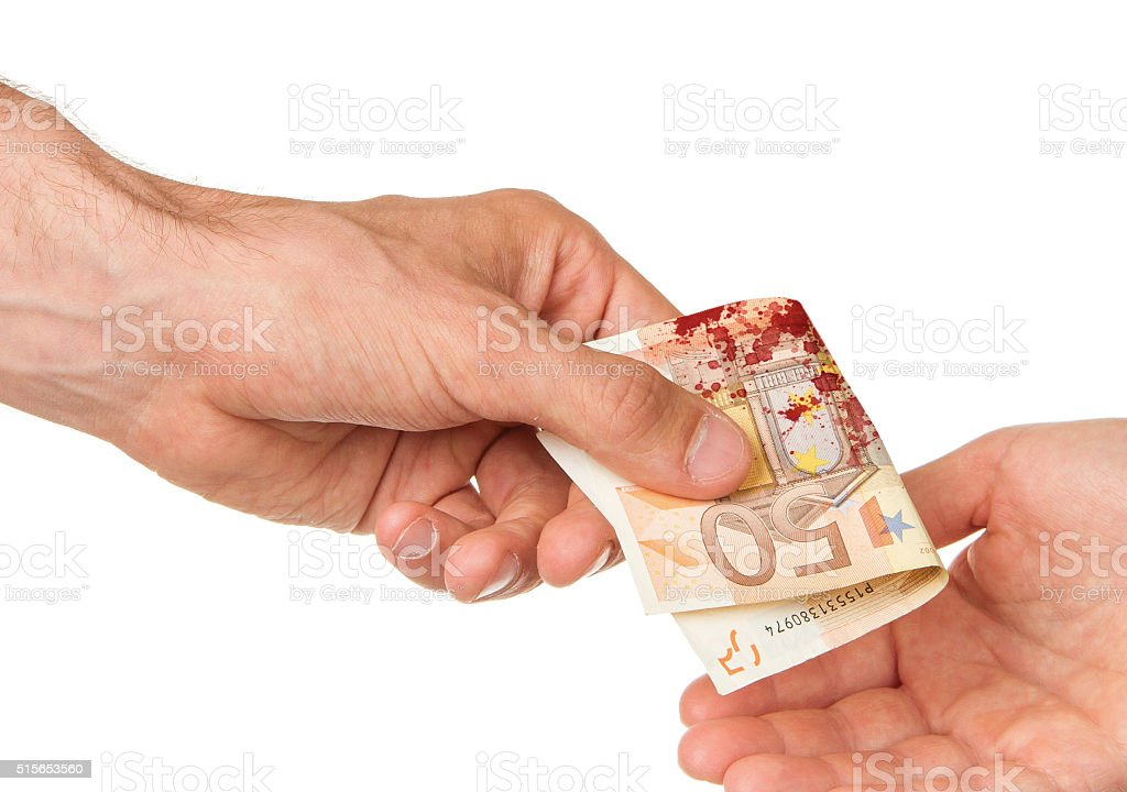 Man giving 50 euro to a woman, blood stock photo