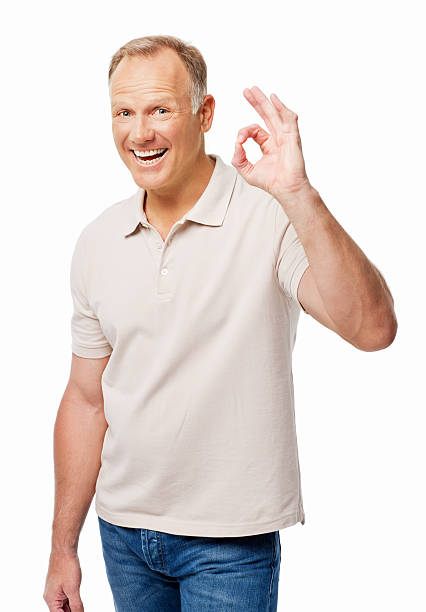 Man Giving an Okay Gesture - Isolated stock photo