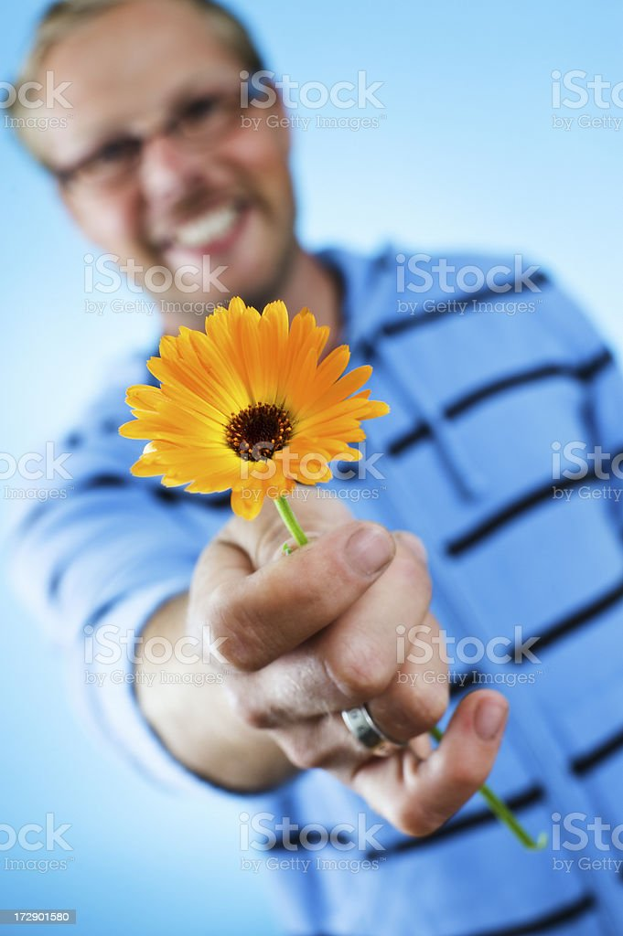 man giving flower royalty-free stock photo