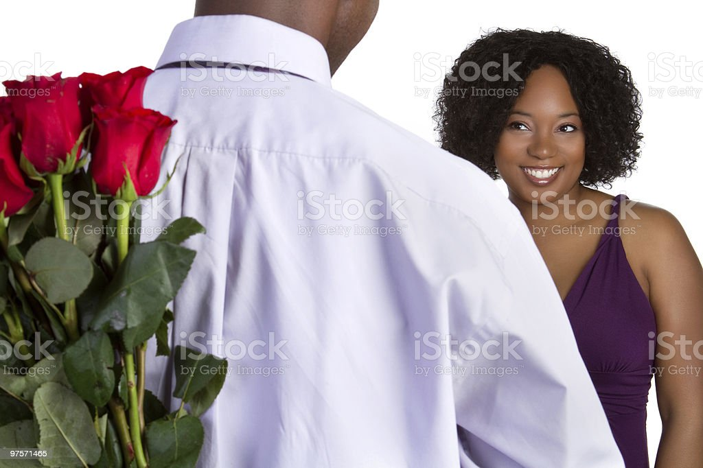 Man Giving Flowers royalty-free stock photo