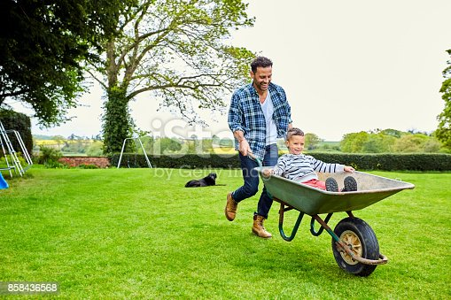 Happy young man giving little son ride in wheelbarrow in garden