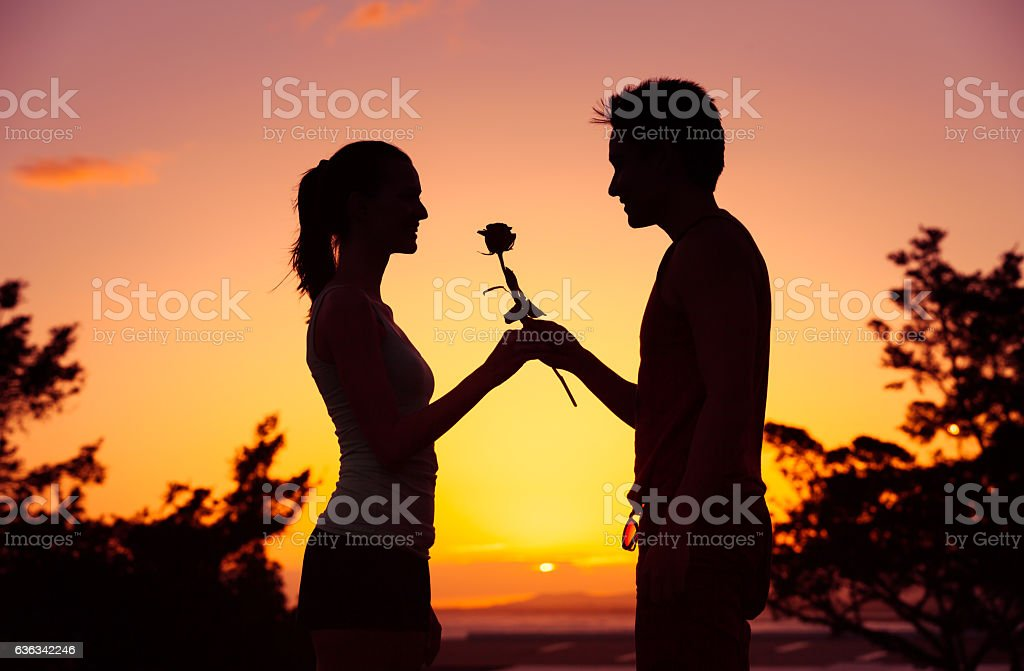 Man giving woman a rose stock photo