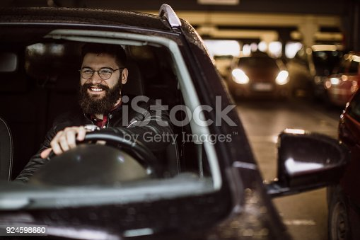 Young man in the car