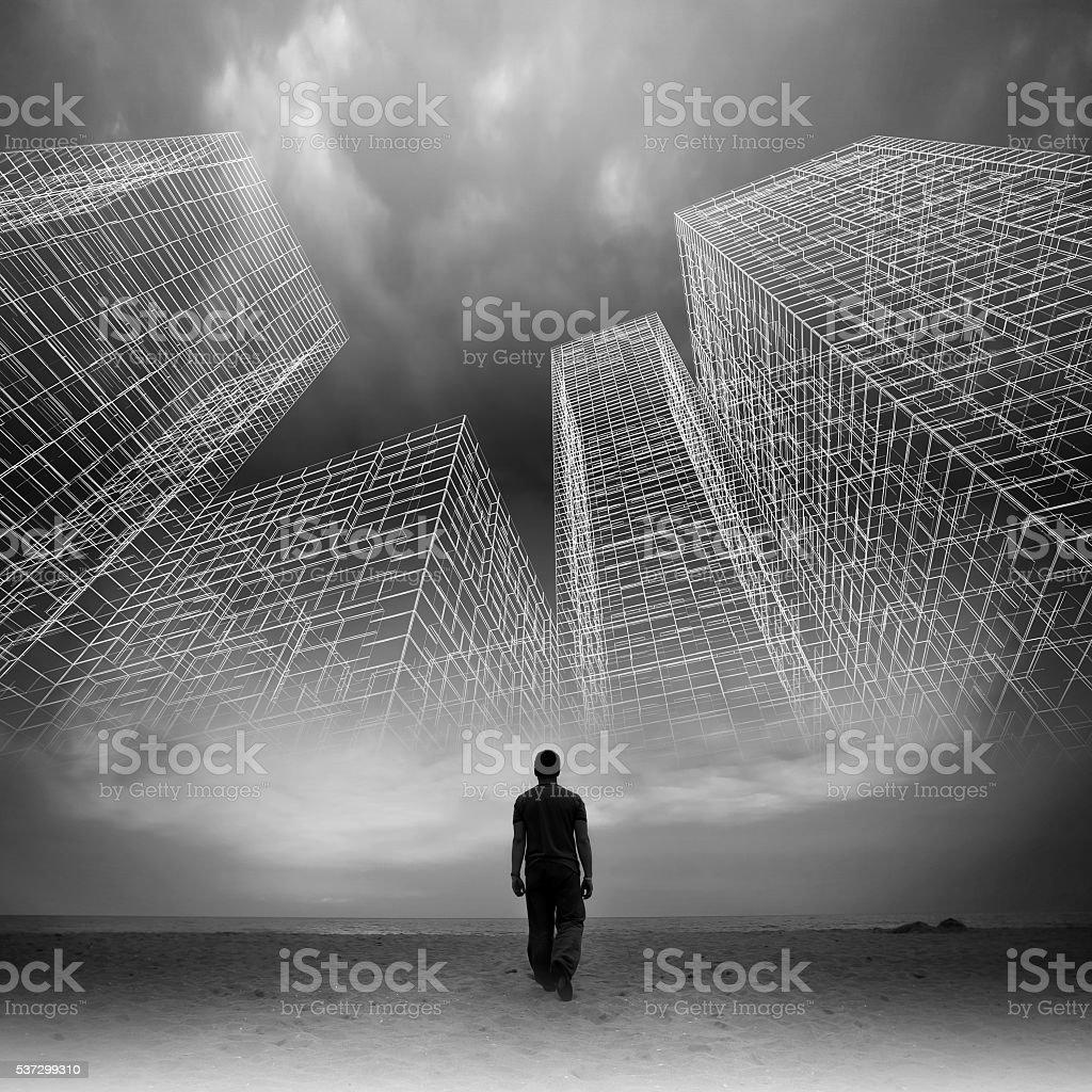 男性が暗い空の下でワイヤフレーム構造 ストックフォト