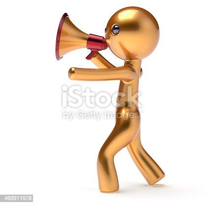istock Man golden character speaking megaphone making sale 493911578