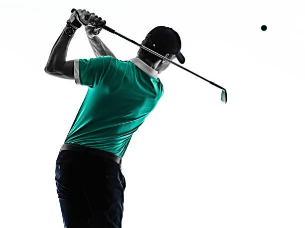 Man Golf Golf Golfen isoliert Schatten Silhouette weißen Hintergrund – Foto