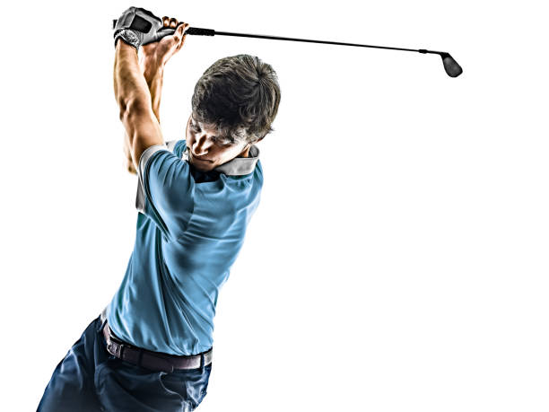 Man Golf golfer golfing isolated  white background stock photo
