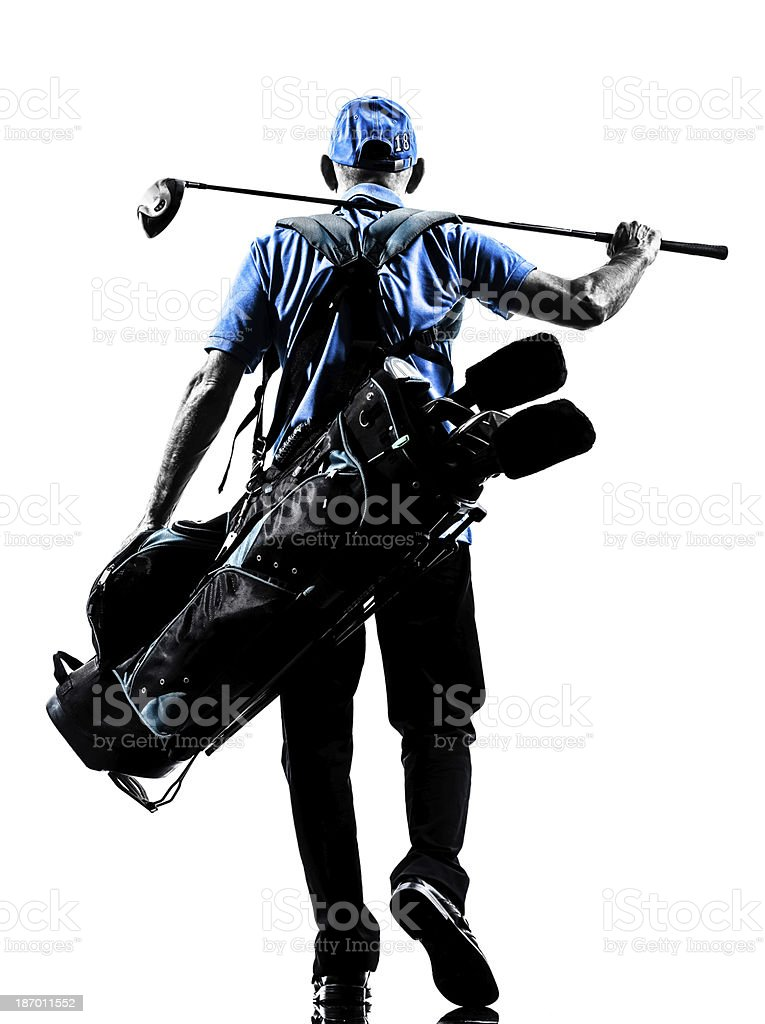 man golfer golfing golf bag walking silhouette stock photo