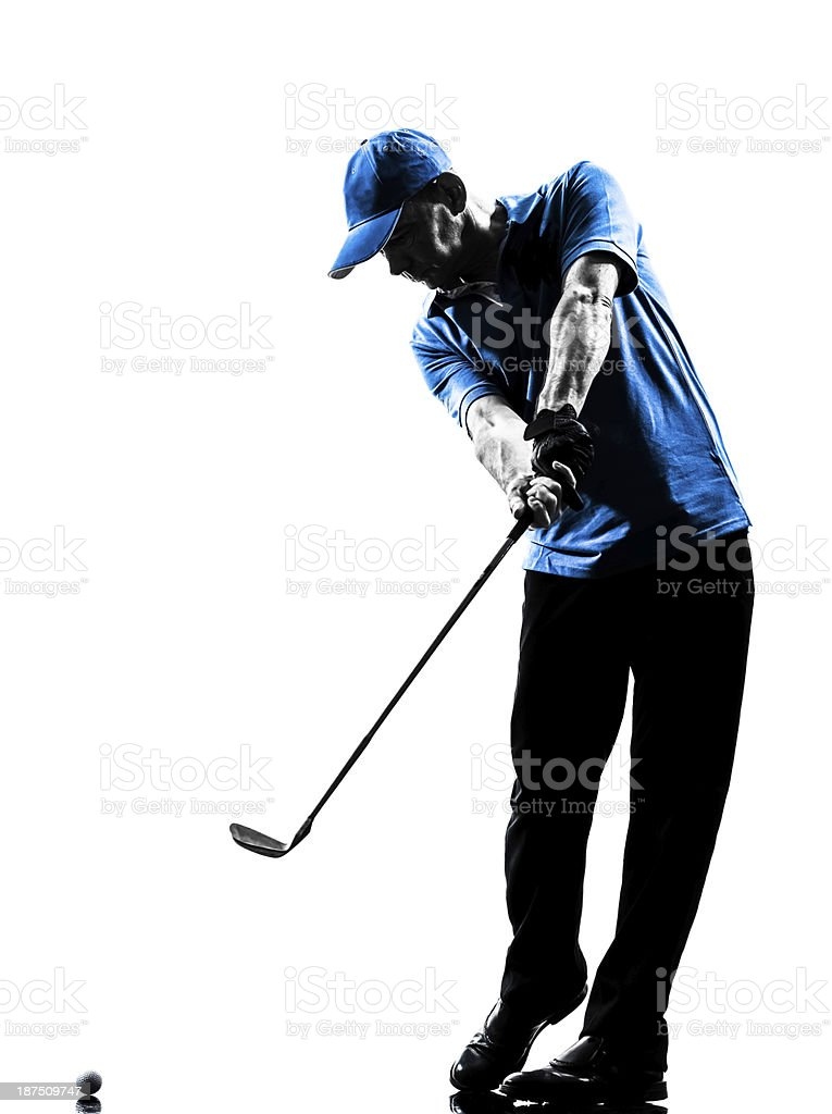 man golfer golfing golf swing silhouette stock photo