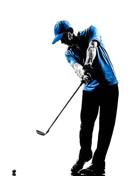 man ゴルファーゴルフィングゴルフスイングシルエット - ゴルフの写真 ストックフォトと画像