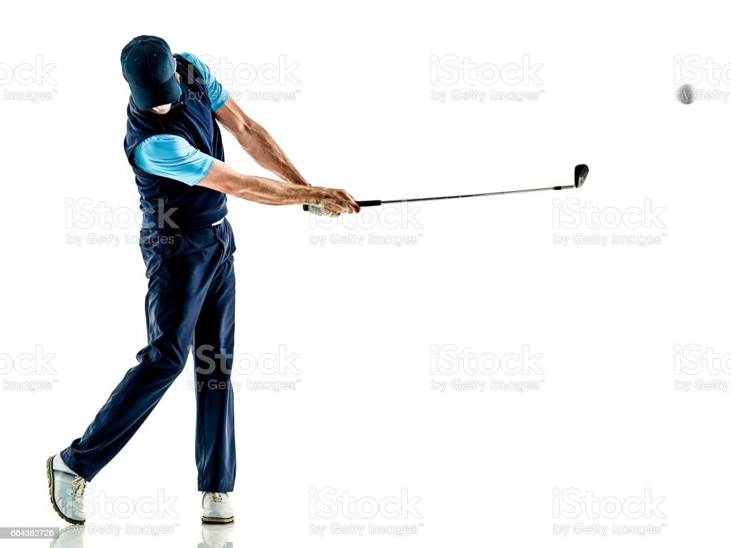 man golfer golfing isolated withe background stock photo
