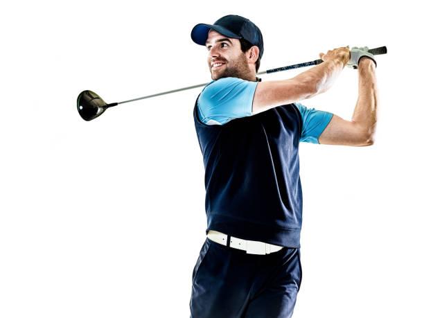 mann-golfer golfen mit hintergrund isoliert - französisch übungen stock-fotos und bilder