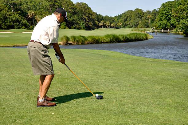man golfing on Hilton Head Island stock photo