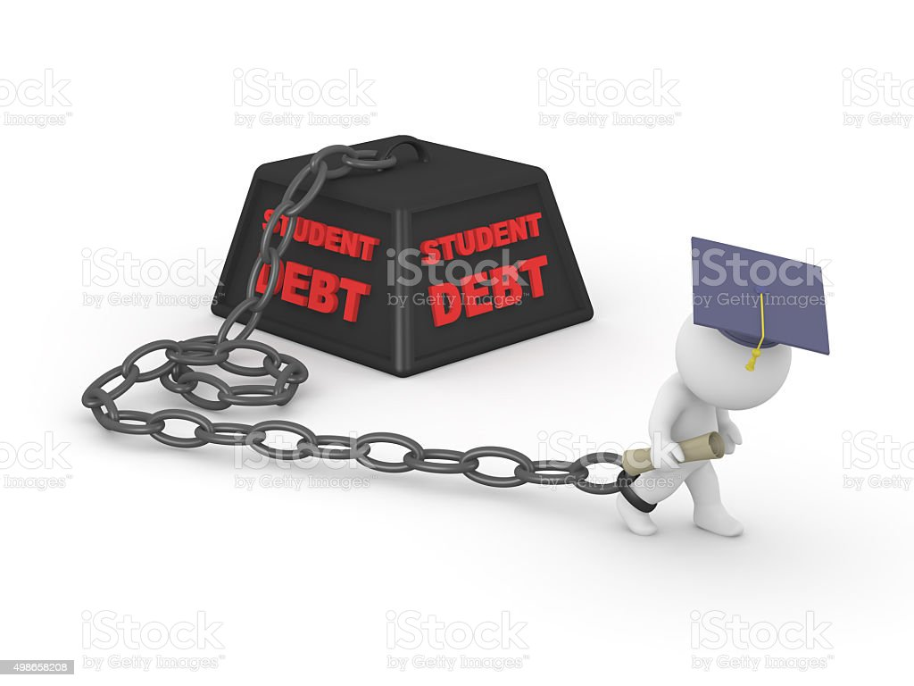 3D man graduated held back by student debt stock photo