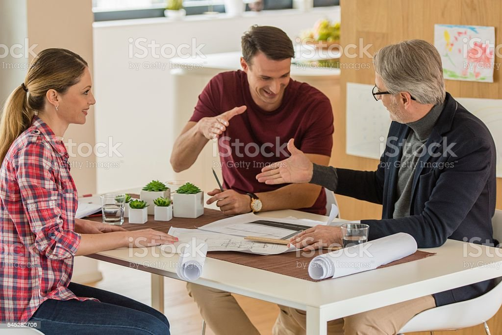 Man greeting financial advisor stock photo