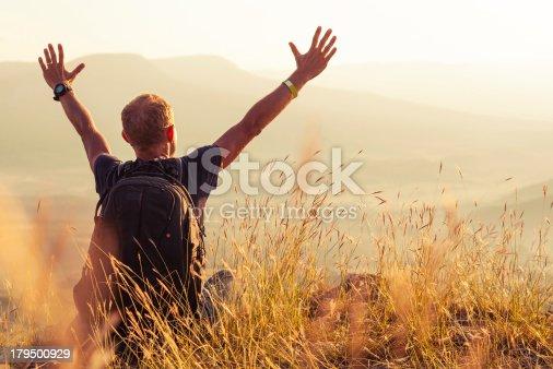 istock Man greeting golden rising of the sun 179500929