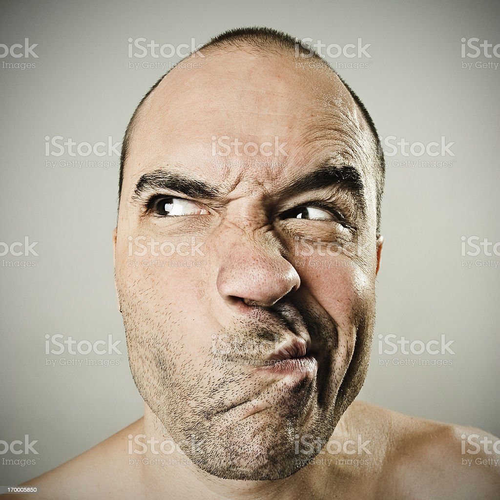 Man grimacing royalty-free stock photo