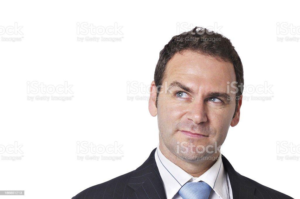 Man grins at an idea stock photo