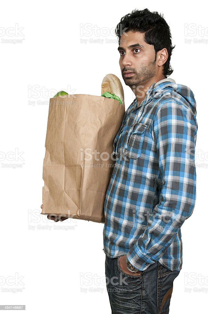 Man Grocery Shopping royalty-free stock photo
