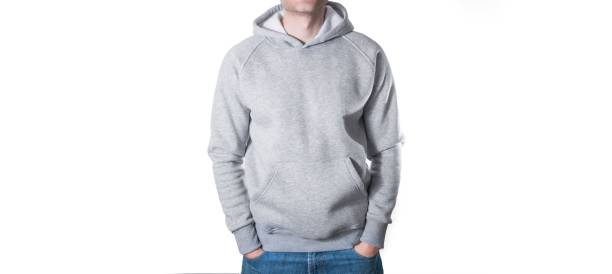 man, guy in blank grey hoodie, sweatshirt, mock up isolated. pla - sweatshirt stock photos and pictures