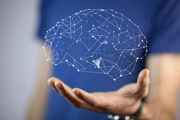 man hand  brain stock photo