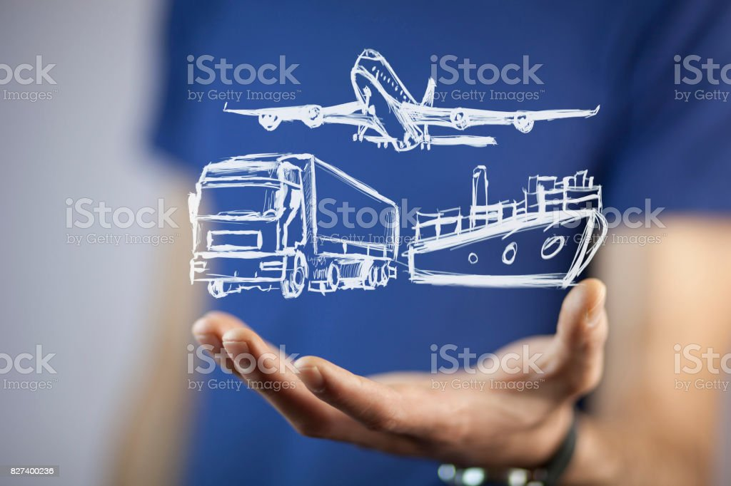 man hand different transport mians stock photo