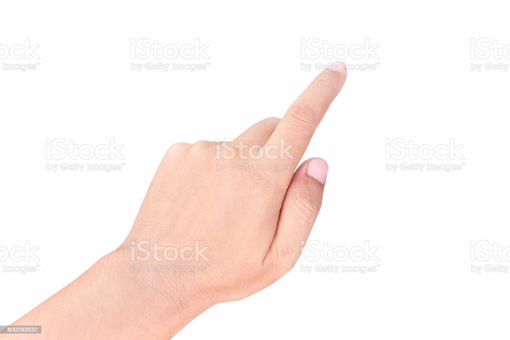 Man Hand finger pointing, isolated on a white background stock photo