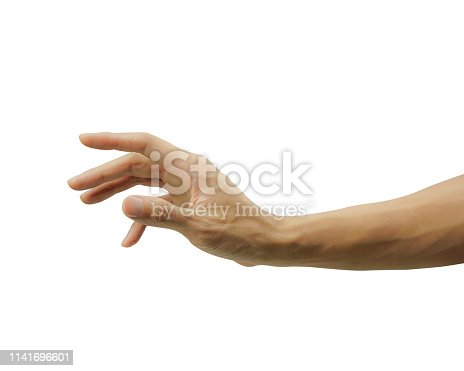 A man hand gesturing or showing something isolated on white background. Carefully cut out by pen tool and insert clipping path.