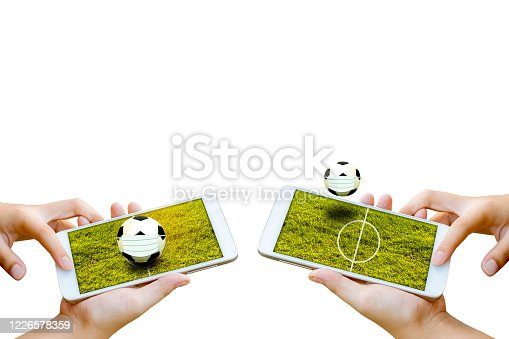843298172 istock photo man hand hold and touch screen smartphone or cellphone isolated on white with football field on screen. 1226578359