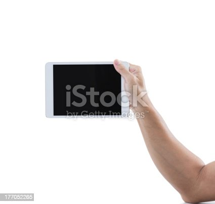 899410700 istock photo Man hand hold digital tablet isolated on white background 177052265