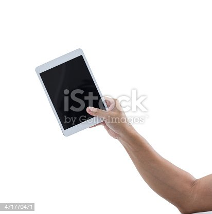 899410700 istock photo Man hand hold digital tablet isolated on white background 471770471
