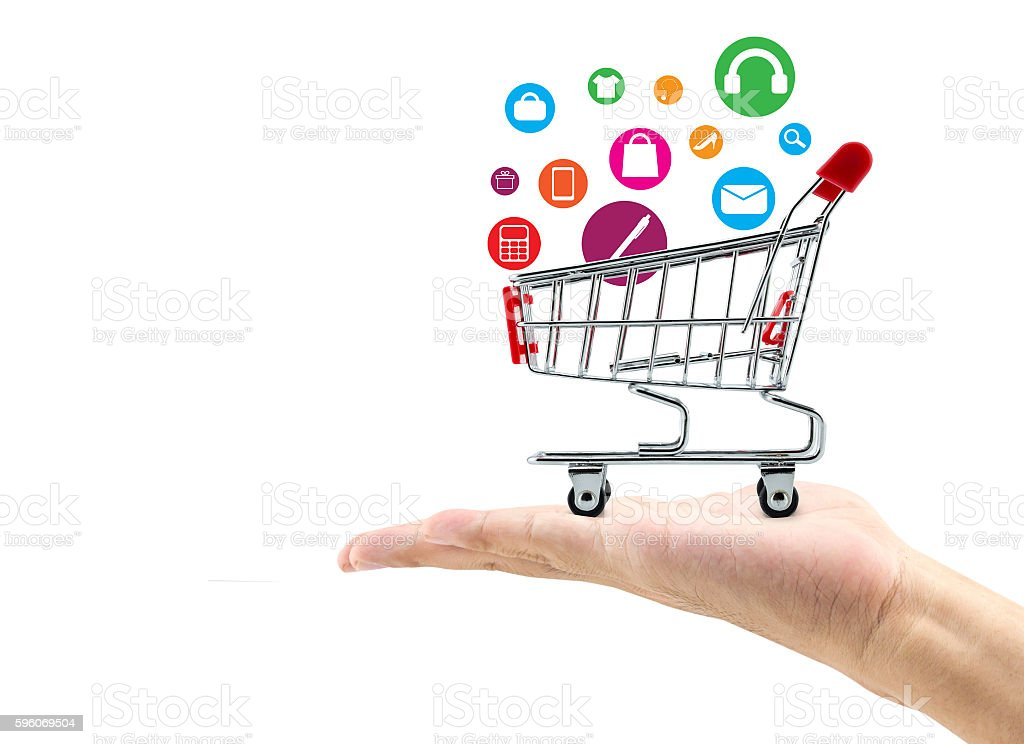 Man hand hold sign shopping online concept royalty-free stock photo