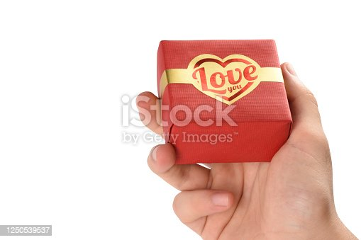Man hand holding a gift box (Clipping path), Valentine's day concept