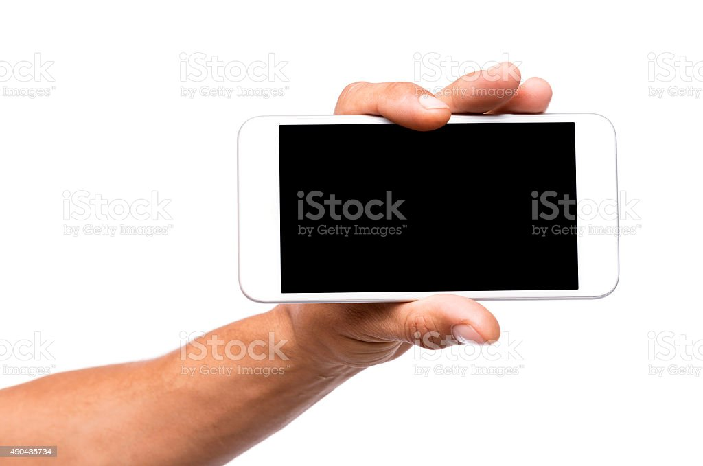 Man hand holding a smartphone with blank screen stock photo
