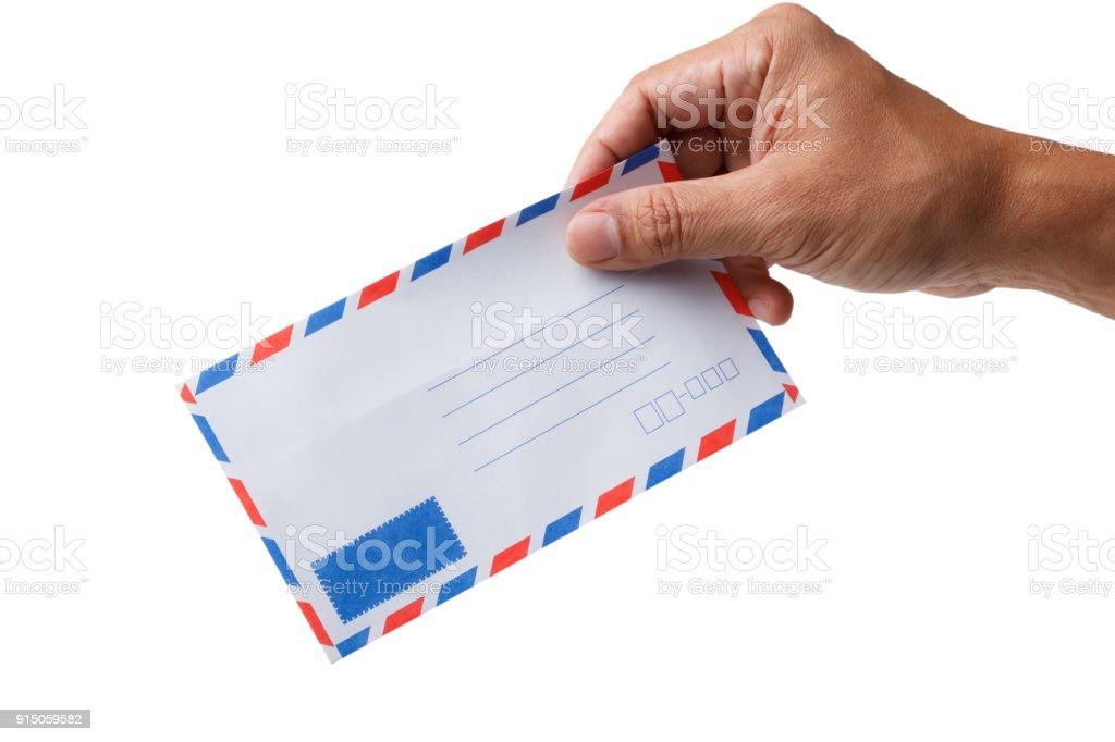 Mann Hand mit Luft Post Umschlag isoliert – Foto