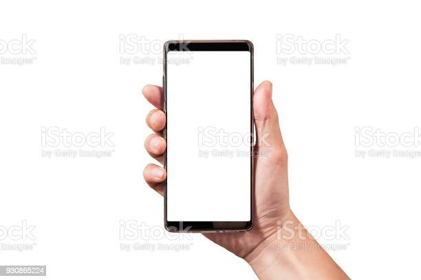 Man hand holding black smartphone isolated on white clipping path picture id930865224?b=1&k=6&m=930865224&s=612x612&h=g5j8g0e8vu7obdyennviirsze20 xj s47adu74ytxi=
