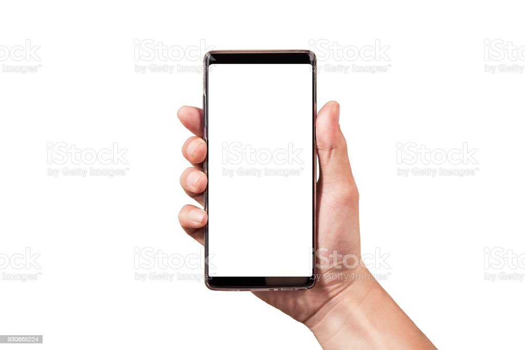 man hand holding black smartphone isolated on white clipping path inside stock photo